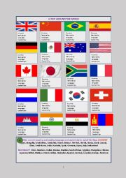 A Trip Around The World-20 Flags, Nationalities, Languages & Capital Cities