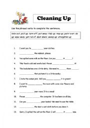English Worksheet: Phrasal Verbs - Cleaning Up