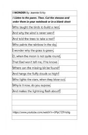 English Worksheet: I wonder (poem)