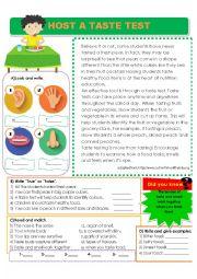 English Worksheet: Host a Taste Test - Reading Comprehension about the Sense of Taste