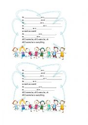 English worksheet: ALL I WANT IS EVERYTHING