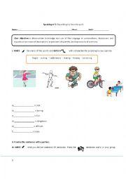 English worksheet: Describing my favorite sport