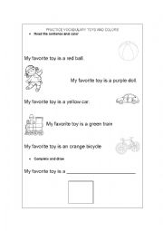 English worksheet: Toys and Colors