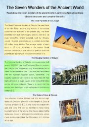 English Worksheet: The seven wonders of the ancient world