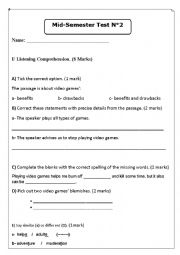 English Worksheet: exam about video games listening with audio