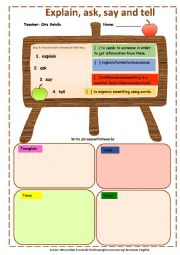 English Worksheet: EXPLAIN, ASK, SAY AND TELL. DEFINITIONS AND EXERCISE