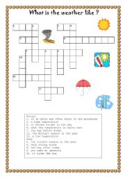 weather vocabulary crosswords