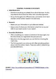 English worksheet: PLANNING A DEBATE