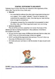 English worksheet: DEBATING. RESPONDING TO ARGUMENTS