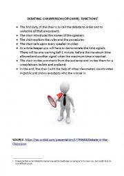 English worksheet: DEBATING. FUNCTIONS OF THE CHAIRPERSON.
