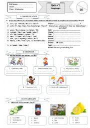 English worksheet: quiz 1 semester2