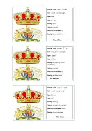 English Worksheet: Royal family game cards part 1