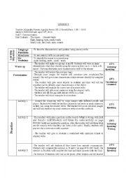 English Worksheet: Lesson plan sensory verbs the senses, verbs of sense