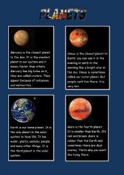 English Worksheet: Planets-reading (easy)