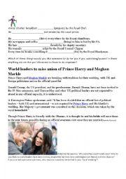 English Worksheet: Prince Harry wedding, Passive, Speaking, Reading