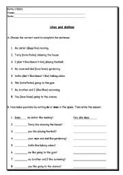 English worksheet: Likes and Dislikes with verb+ing - simple exercises for low-level ESOL learners