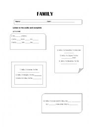 English Worksheet: Listening Family members