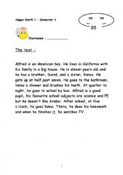 English Worksheet: test 5 th form reading comprehension happy earth 1