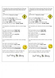 English Worksheet: Song - Don´t worry, be happy.