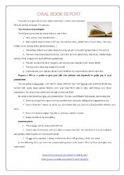 English Worksheet: Oral Book Report