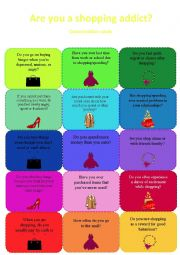 English Worksheet: Are you a shopping addict? Conversation cards