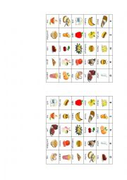 English Worksheet: Food bingo cards