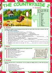 English Worksheet: The Countryside 2 (Vocabulary, grammar, writing and speaking) + KEY
