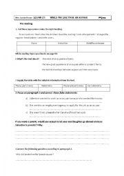 English Worksheet: AU PAIR MY VERSION