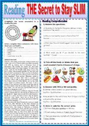 English Worksheet: The secret to stay slim.  READING + KEY