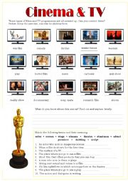 English Worksheet: CINEMA & TV