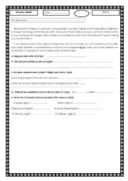 English Worksheet: test reading and comprehension