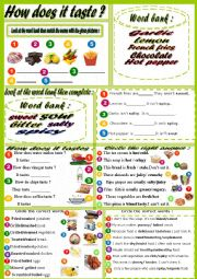 English Worksheet: Food adjectives : How does it taste?