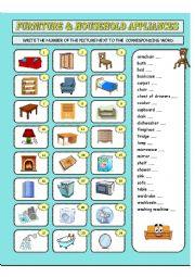 English Worksheet: Furniture & household appliances