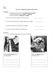 English Worksheet: Analyzing and Creating Compound and Complex Sentences