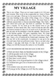 English Worksheet: MY VILLAGE