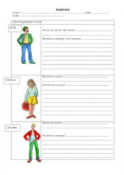 English Worksheet: Describing people�s clothes