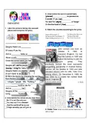 English Worksheet: Imagine by John Lennon, Lyrics activity