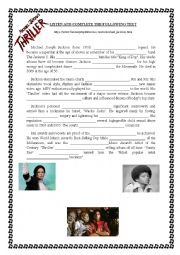 English Worksheet: Michael Jackson�s biography (listening)