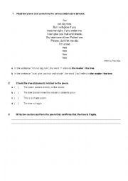 English Worksheet: A poem