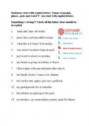 English Worksheet: Capitalisation