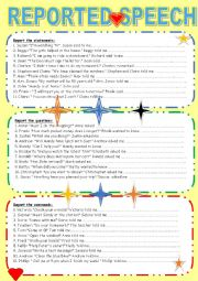 English Worksheet: Reported Speech statements, questions and commands