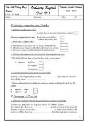 English Worksheet: language + listening test