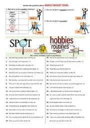 English Worksheet: Spot the mistakes (Present Simple Tense)