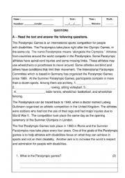 English Worksheet: Test Sports