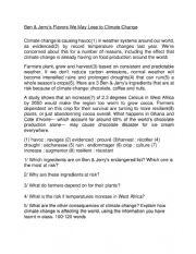 English Worksheet: Ben & Jerry´s climate change worksheet