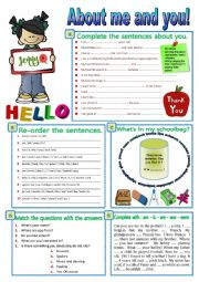 English Worksheet: All about me and you!