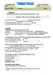 English Worksheet: Morocco 1st year bac test 1 Ticket to English