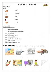 English Worksheet: French Toast - Cooking verbs