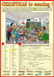 English Worksheet: CHRISTMAS is coming. School Vocabulary and Present Continuous revision.
