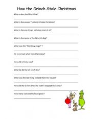 English Worksheet: How the grinch stole Chrsitmas